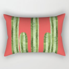 Watercolor of cactus on red background Rectangular Pillow