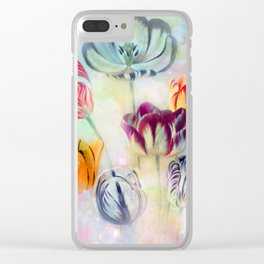 painted tulips on pastell background -c- Clear iPhone Case