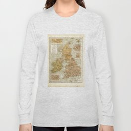 Vintage Map of Great Britain and Ireland, 1947 Long Sleeve T-shirt