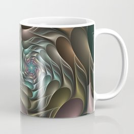Metallic Spiral 2, Modern Abstract Fractal Art Coffee Mug