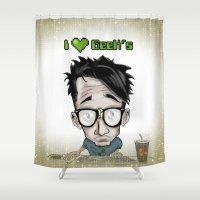geek Shower Curtains featuring Geek by Aguamala