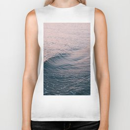 Pink Sunset Waves Biker Tank