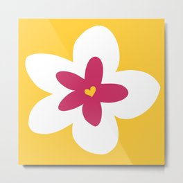 Pink Plumeria (Yellow) Metal Print