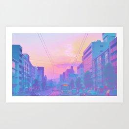 Anime sunset Art Print