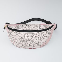 Doodle flowers with heart Fanny Pack