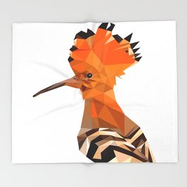 Bird artwork hoopoe geometric, Orange and brown Throw Blanket