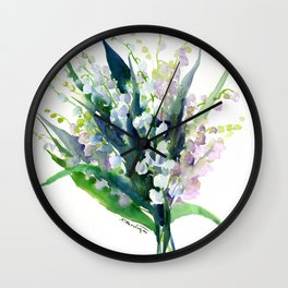 Lilies of the Valley, spring floral design flowers sring design wood flowers Wall Clock