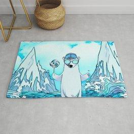 Polar bear on the surf board Rug
