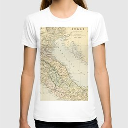 Retro & Vintage Map of Northern Italy T-shirt