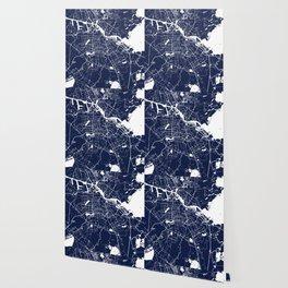 Amsterdam Navy Blue on White Street Map Wallpaper