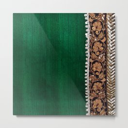 -A11- Tradtional Textile Moroccan Green Artwork. Metal Print