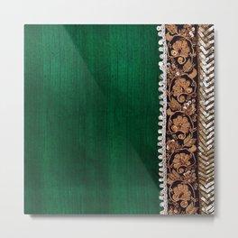 -A11- Tradtional Textile Moroccan Green Artwork. Metal Print