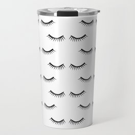 Black Lashes Pattern Travel Mug