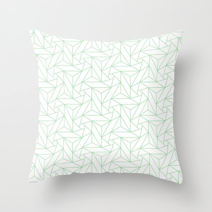 Pastel Green & White Abstract Triangle Geometric Mosaic Pairs To 2020 Color of the Year Neo Mint Throw Pillow