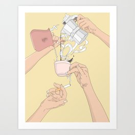 Coffee Hands Art Print