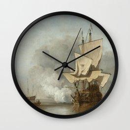 Willem Van De Velde II - The Cannon Shot  1680 Wall Clock
