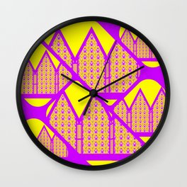 City of Violets and Yellows Wall Clock