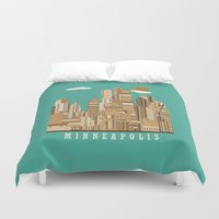 minneapolis Duvet Covers featuring Minneapolis skyline by bri.buckley