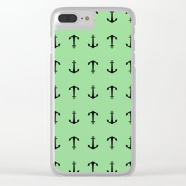 Anchors Away - Black anchors pattern on pastel green Clear iPhone Case