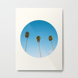 Mid Century Modern Round Circle Photo Minimalist Palm Trees Against Blue Sky Metal Print