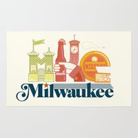 milwaukee Area & Throw Rugs featuring MKE ~ Milwaukee, WI by Jeremy Pettis