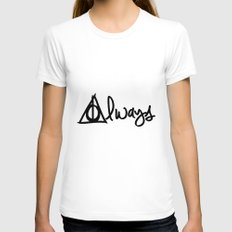 Always, Deathly Hallows, Harry Potter White Womens Fitted Tee SMALL