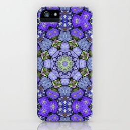 Garden mosaic kaleidoscope mandala - cool blues 2 iPhone Case