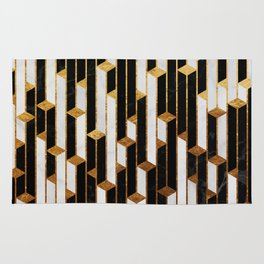 Marble Skyscrapers - Black, White and Gold Rug