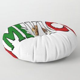 Mexico Font with Mexican Flag Floor Pillow
