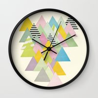 french Wall Clocks featuring French Alps by Cassia Beck