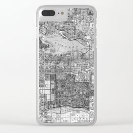 Vintage Map of Vancouver Canada (1920) BW Clear iPhone Case