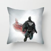 man of steel Throw Pillows featuring The Man of Steel  by The Mimema