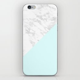 White Marble with Pastel Blue and Grey iPhone Skin