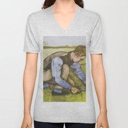 "Vincent van Gogh - Boy cutting grass with a sickle ""Jongen met sikkel"" (1881) Unisex V-Neck"