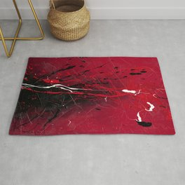 Rising - Black and red abstract splash painting by Rasko Rug