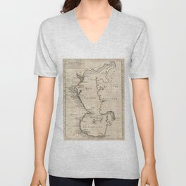 Vintage Map of The Caspian Sea (1730) Unisex V-Neck
