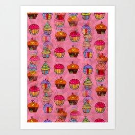 Cupcake Popart by Nico Bielow Art Print