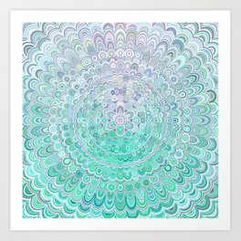 Turquoise Ice Flower Mandala Art Print