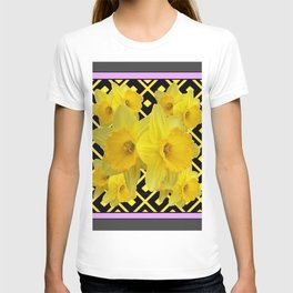 Charcoal Grey Lilac Yellow Daffodils art T-shirt
