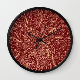 Warm Autumn Leaves Wall Clock