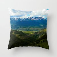 gore Throw Pillows featuring Gore Range with ranches below by Calm Cradle Photo & Design