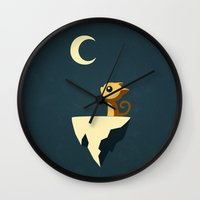vector Wall Clocks featuring Moon Cat by Freeminds