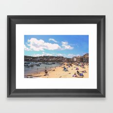 British Beach scene illustration, St Ives, English holiday resort Framed Art Print
