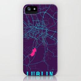 Lublin Neon City Map, Lublin Minimalist City Map Art Print iPhone Case