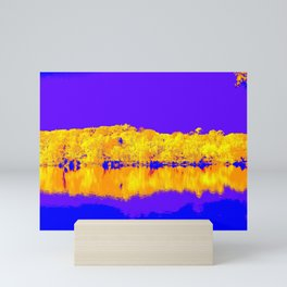 Autumn Reflections In Blue and Gold Mini Art Print