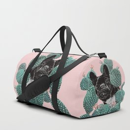 French Bulldog and Cactus Pink Duffle Bag