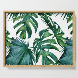 Classic Palm Leaves Tropical Jungle Green Serving Tray