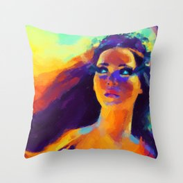 The Girl On Fire Throw Pillow