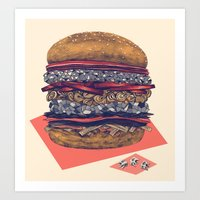 burger Art Prints featuring burger by mr. louis
