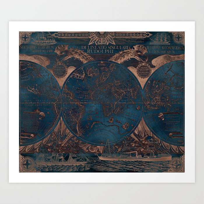 Rose gold and cobalt blue antique world map with sail ships Art Print